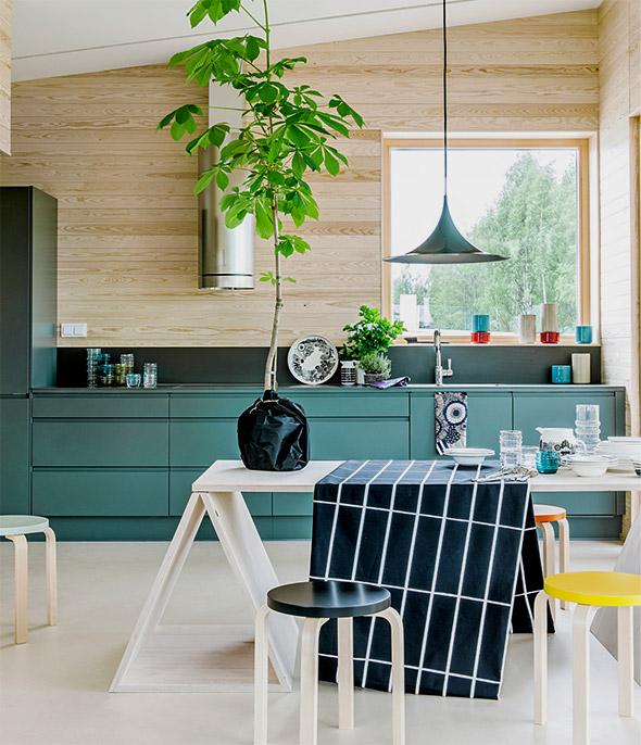 Keittiömalli - Asuntomessut 2014 Skammin talo rakennettiin puusta ja sisustettiin Marimekol
